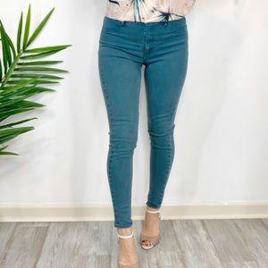 AEO Sky High Jeggings teal blue skinny jeans 0962